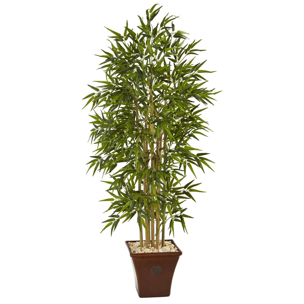 "64"" Bamboo Artificial Tree in Brown Planter"