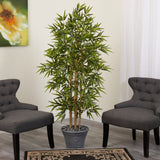 "64"" Bamboo Artificial Tree in Gray Planter"