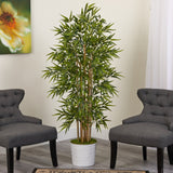 "64"" Bamboo Artificial Tree in White Tin Planter"