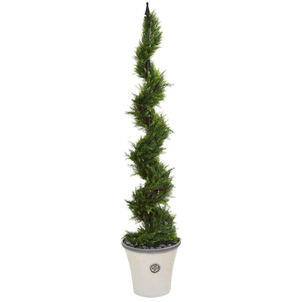 "64"" Cypress Artificial Spiral Tree in Decorative Planter"