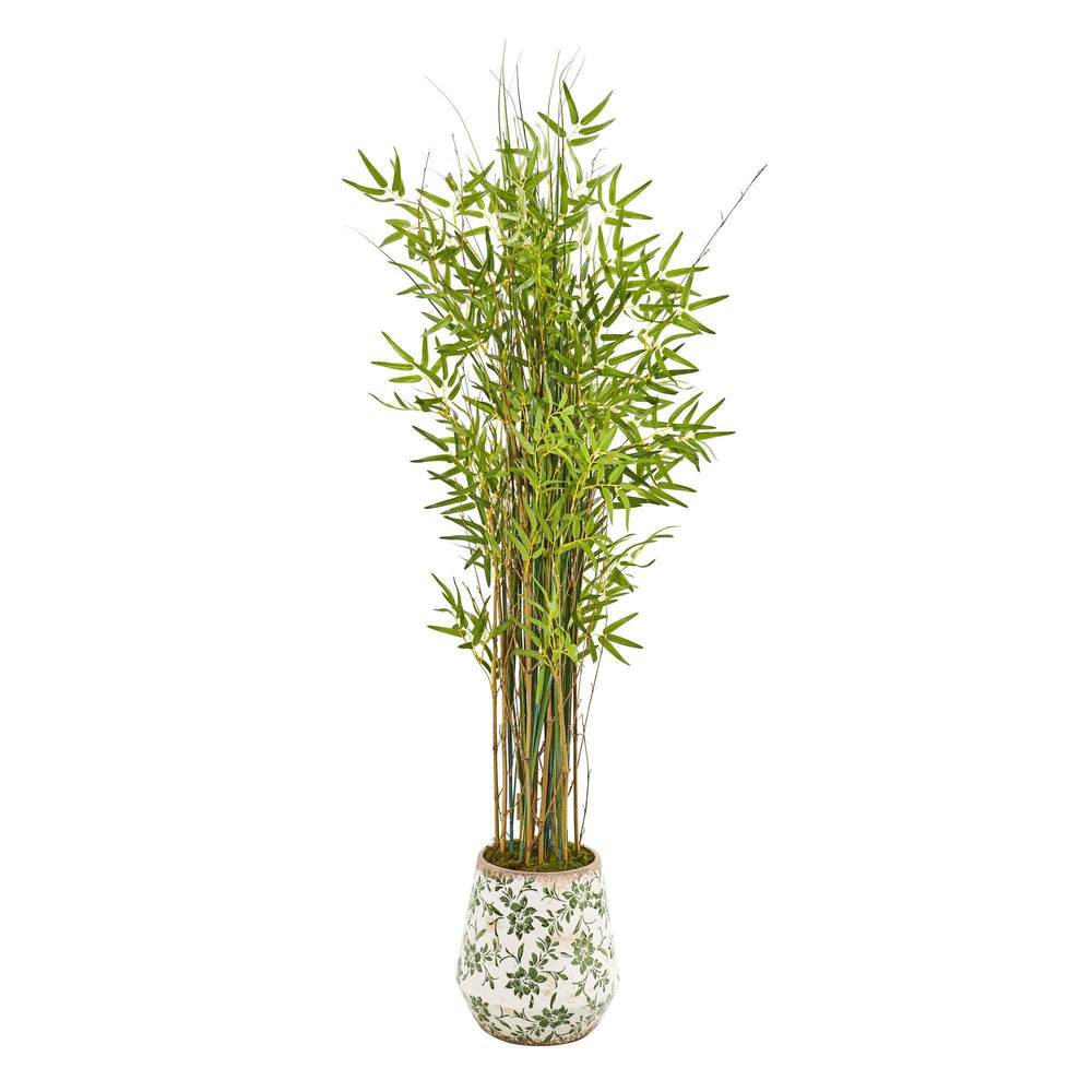 64 Grass Artificial Bamboo Plant In Floral Print Planter Nearly