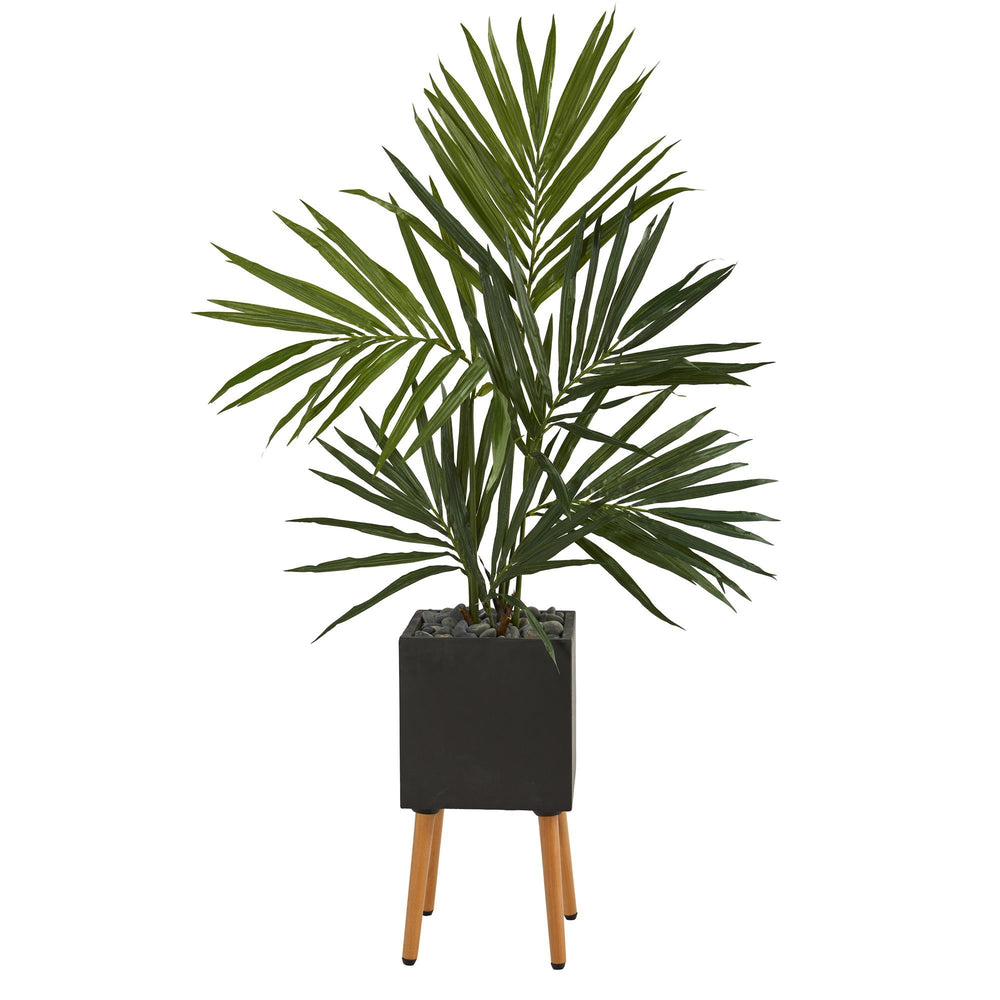 "64"" Kentia Artificial Palm Tree in Black Planter with Stand"