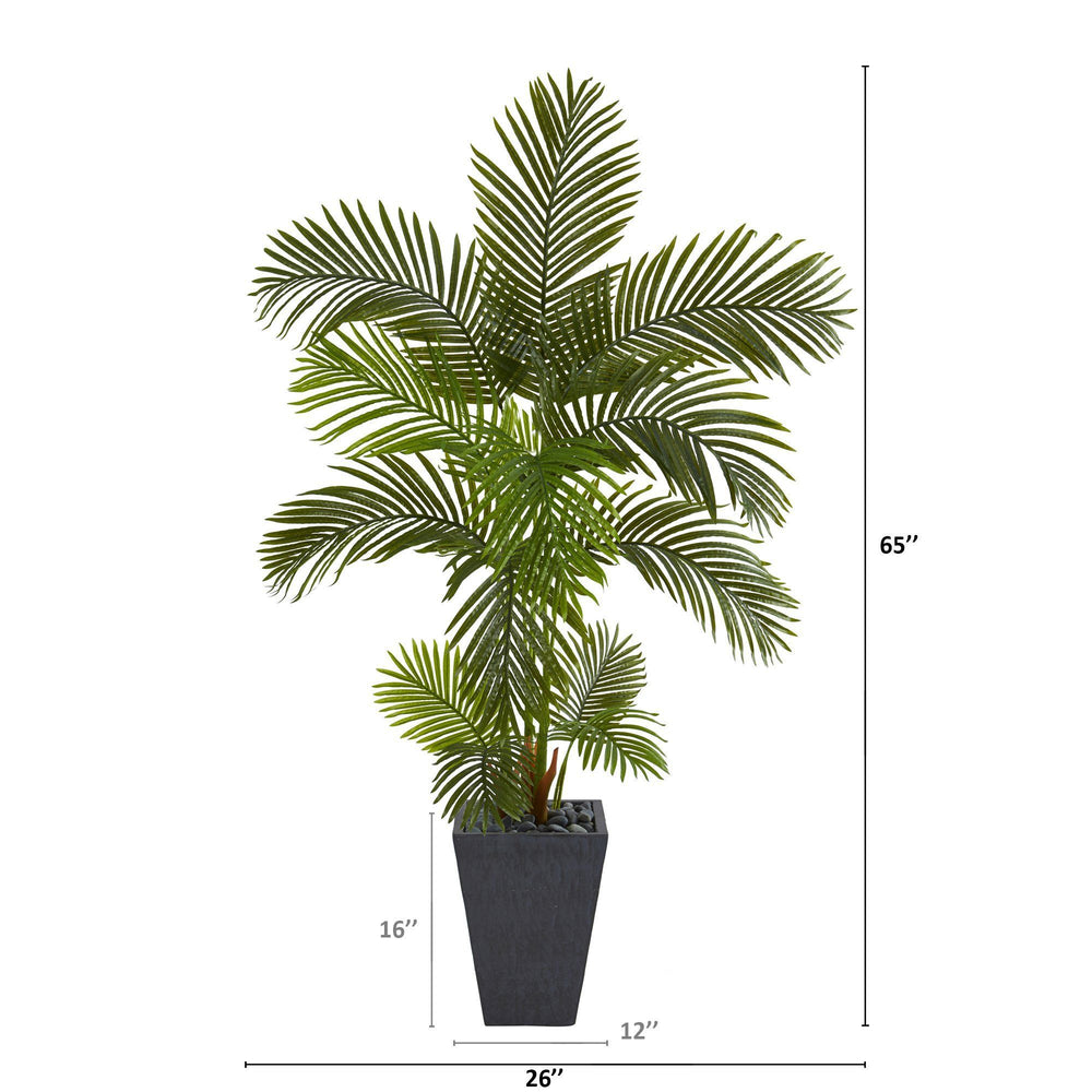 "65"" Areca Palm Artificial Tree in Slate Planter"