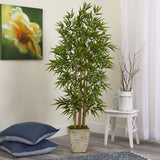 "65"" Bamboo Artificial Tree in Country White Planter"