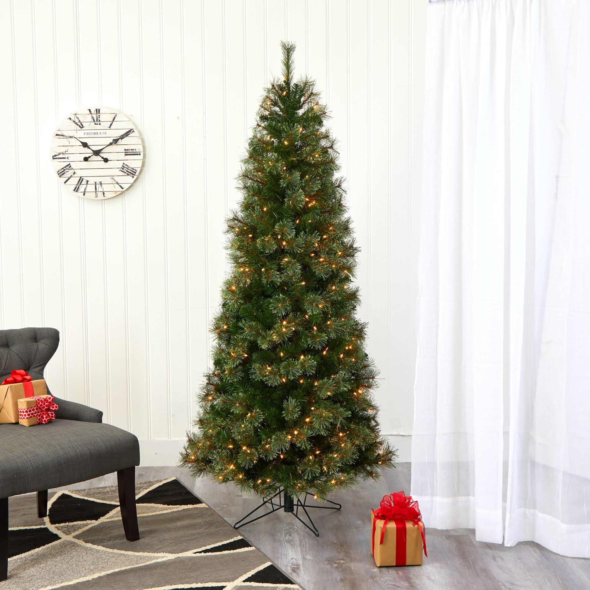 6 5 Cashmere Slim Artificial Christmas Tree With 350 Warm White Lights And 660 Bendable Branches Nearly Natural