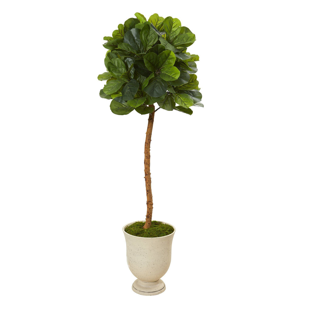 "65"" Fiddle Leaf Artificial Tree in Decorative Urn (Real Touch)"