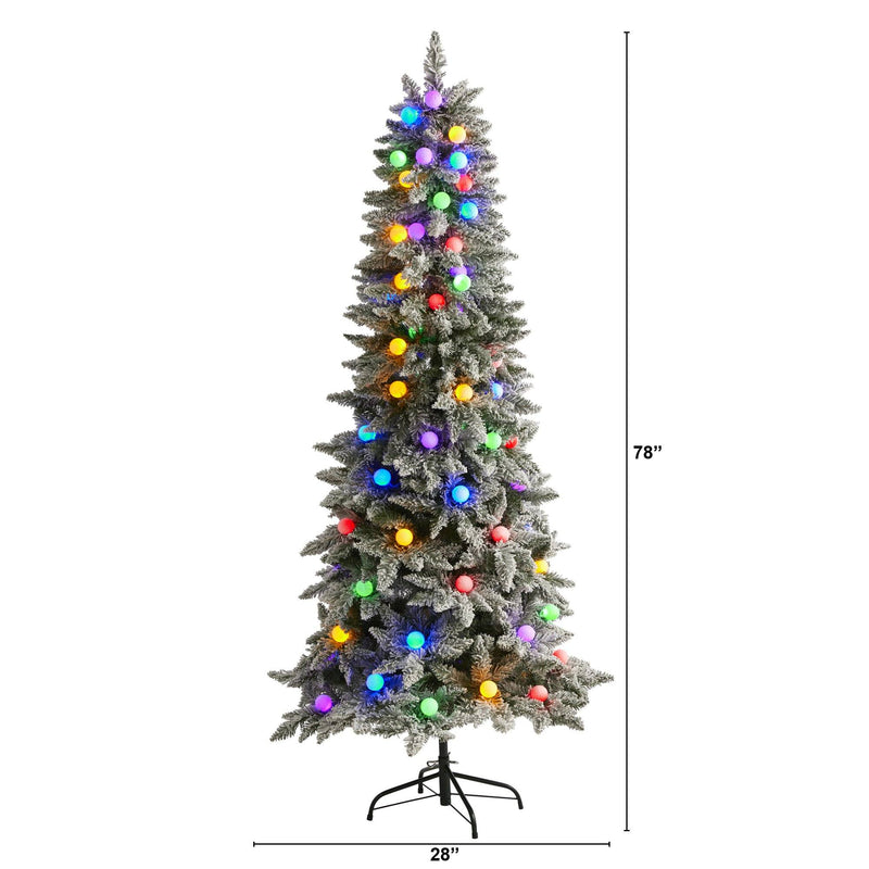 6.5' Flocked British Columbia Mountain Fir Artificial Christmas Tree with 75 Multi Color Globe Bulbs and 679 Bendable Branches