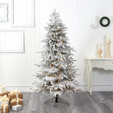 6.5' Flocked Grand Northern Rocky Fir Artificial Christmas Tree with 1150 Warm Micro (Multifunction with Remote Control) LED Lights, Instant Connect Technology and 820 Bendable Branches