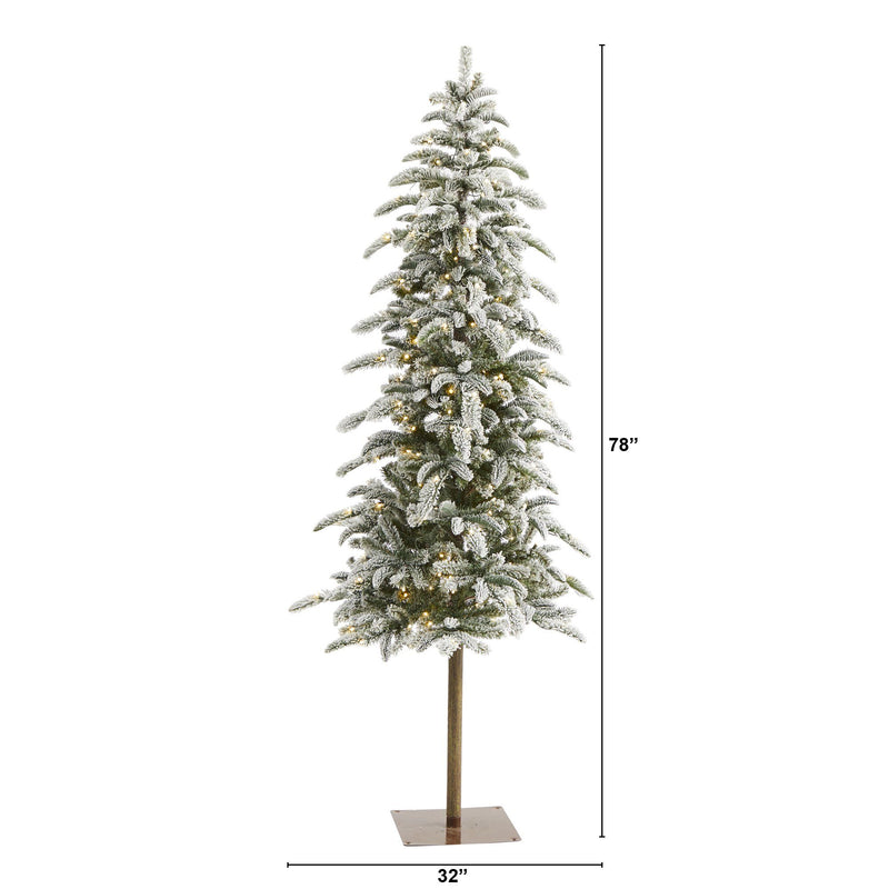 6.5' Flocked Washington Alpine Christmas Artificial Tree with 250 White Warm LED Lights and 637 Bendable Branches