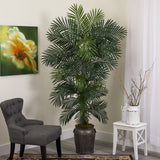 6.5' Golden Cane Artificial Palm Tree in Metal Planter