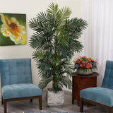 6.5' Golden Cane Artificial Palm Tree in White Planter