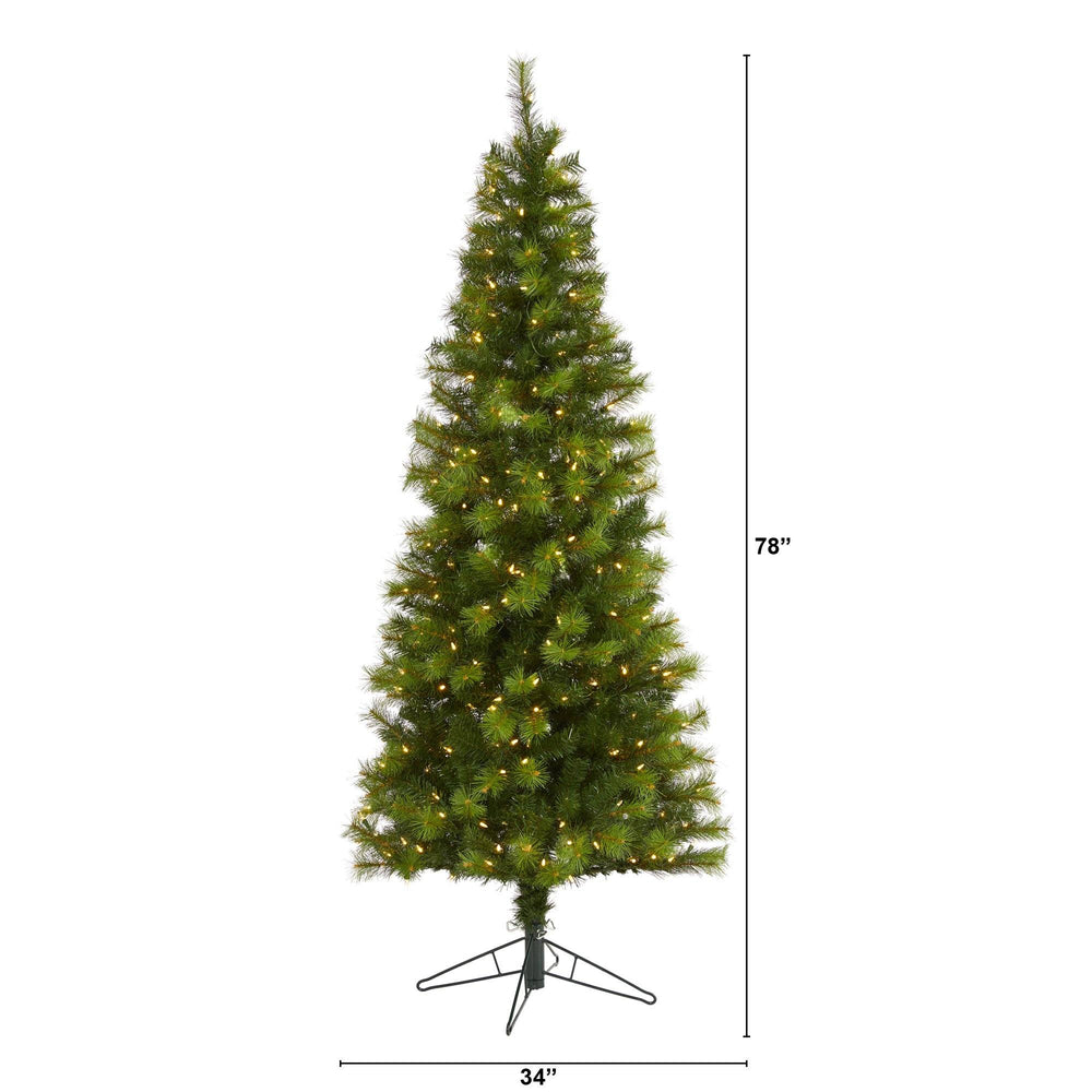 6.5' Green Valley Pine Artificial Christmas Tree with 300 Warm White LED Lights and 579 Bendable Branches
