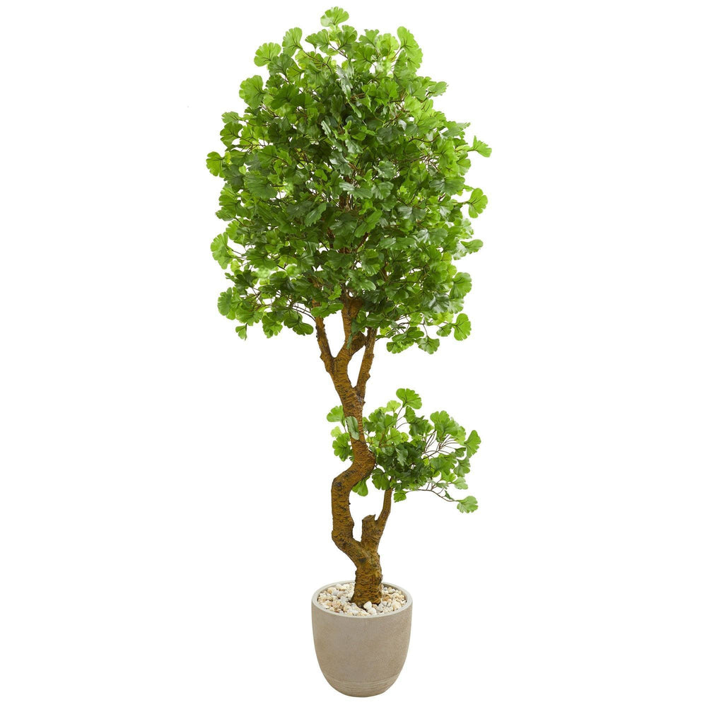 6.5' Jingo Artificial Tree in Sand Colored Planter UV Resistant (Indoor/Outdoor)