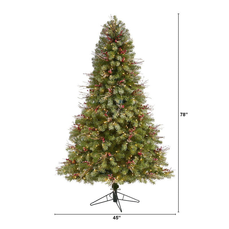 6.5' Lightly Frosted Big Sky Spruce Artificial Christmas Tree with 450 Clear (Multifunction) LED Lights with Instant Connect Technology, Berries, Pine Cones and 904 Bendable Branches