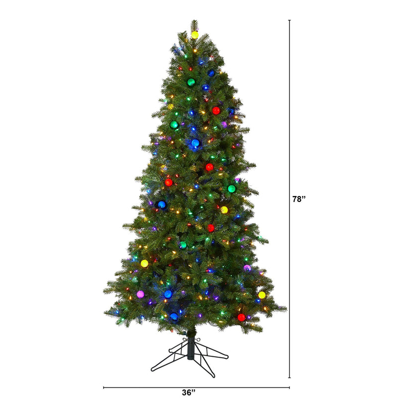 6.5' Montana Mountain Fir Artificial Christmas Tree with 450 Multi Color LED Lights and Instant Connect Technology, 45 Globe Bulbs and 1042 Bendable Branches
