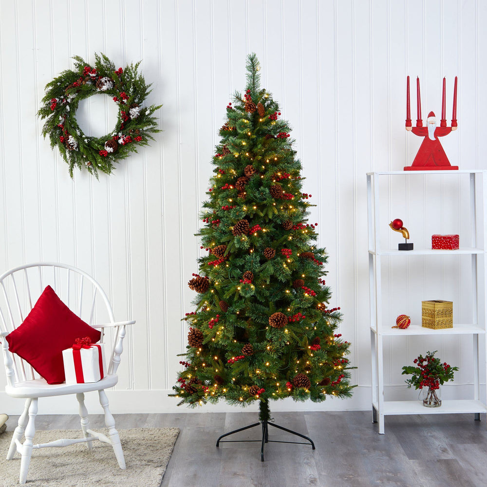 6.5' Norway Mixed Pine Artificial Christmas Tree with 350 Clear LED Lights, Pine Cones and Berries