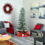 6.5' Slim Flocked Nova Scotia Spruce Artificial Christmas Tree with 300 Warm White LED Lights and 699 Bendable Branches