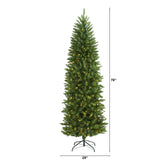 6.5' Slim Green Mountain Pine Artificial Christmas Tree with 300 Clear LED Lights