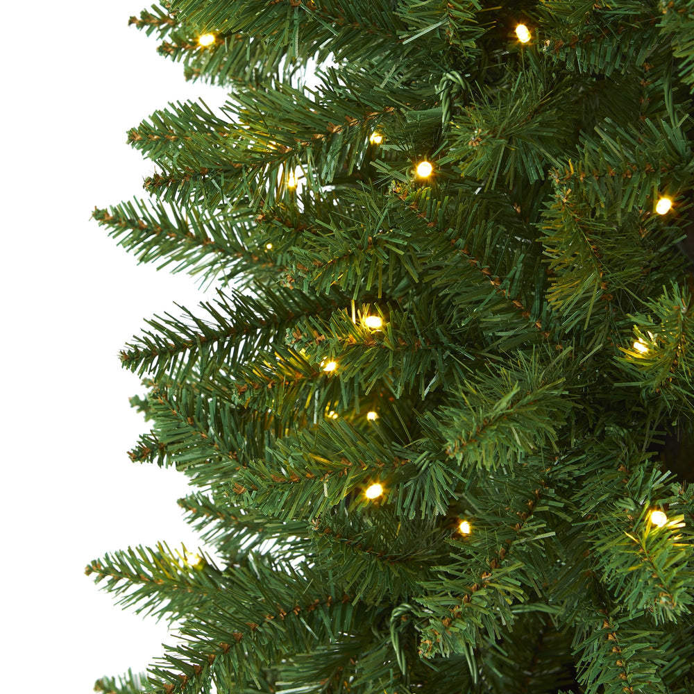 6 5 Slim Green Mountain Pine Artificial Christmas Tree With 300 Clear Led Lights Nearly Natural