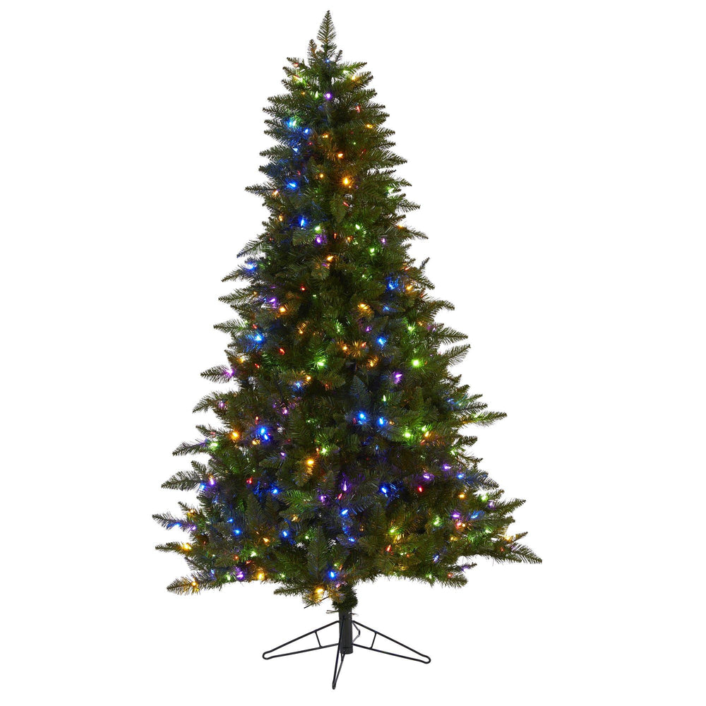 6.5' Vermont Spruce Artificial Christmas Tree with 450 Color Changing (Multifunction with Remote Control) LED Lights with Instant Connect Technology and 1984 Bendable Branches