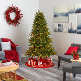 6.5' Yukon Mountain Fir Artificial Christmas Tree with 450 Clear Lights, Pine Cones and 1236 Bendable Branches
