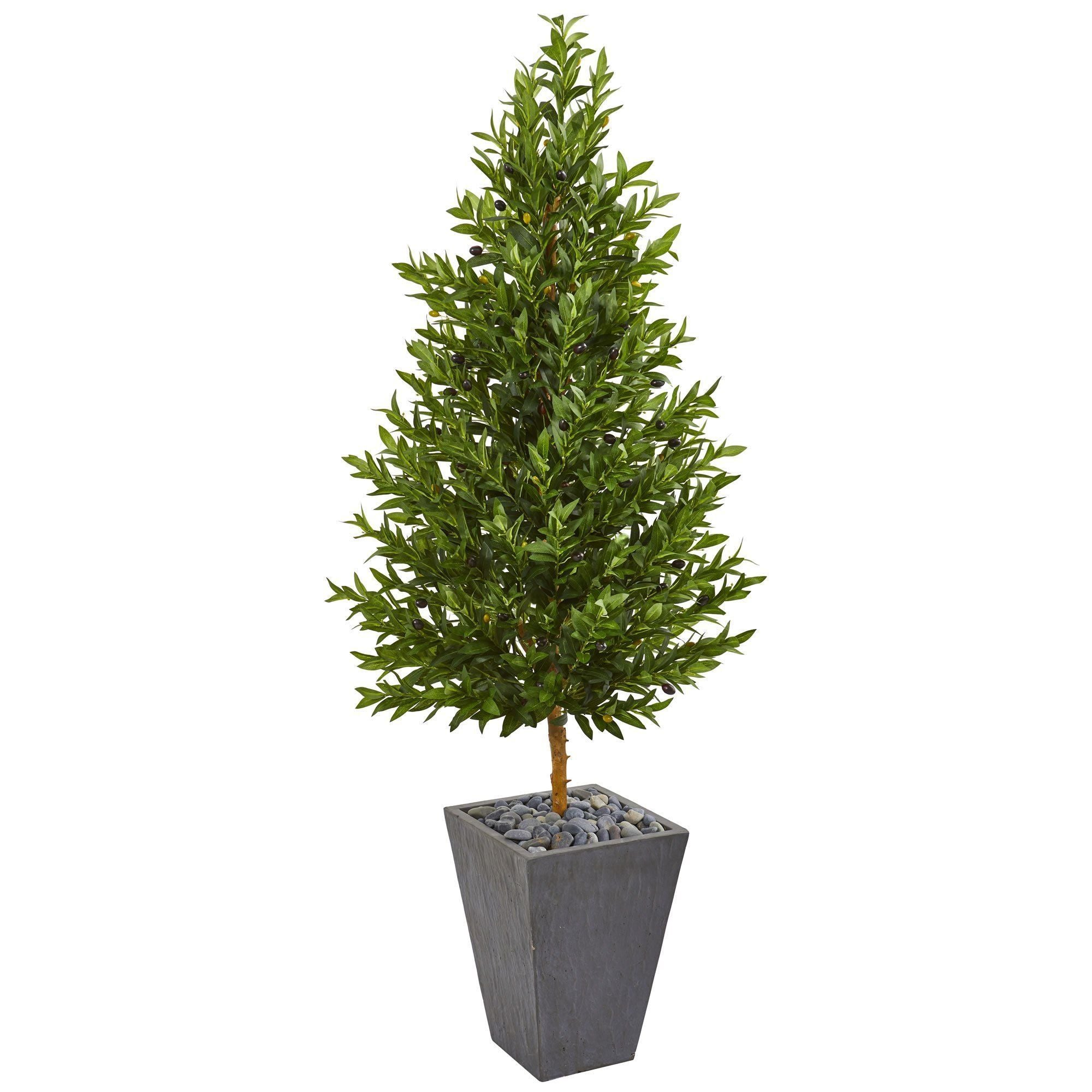 67 Olive Cone Topiary Artificial Tree In Slate Planter Uv Resistant Indoor Outdoor Nearly Natural