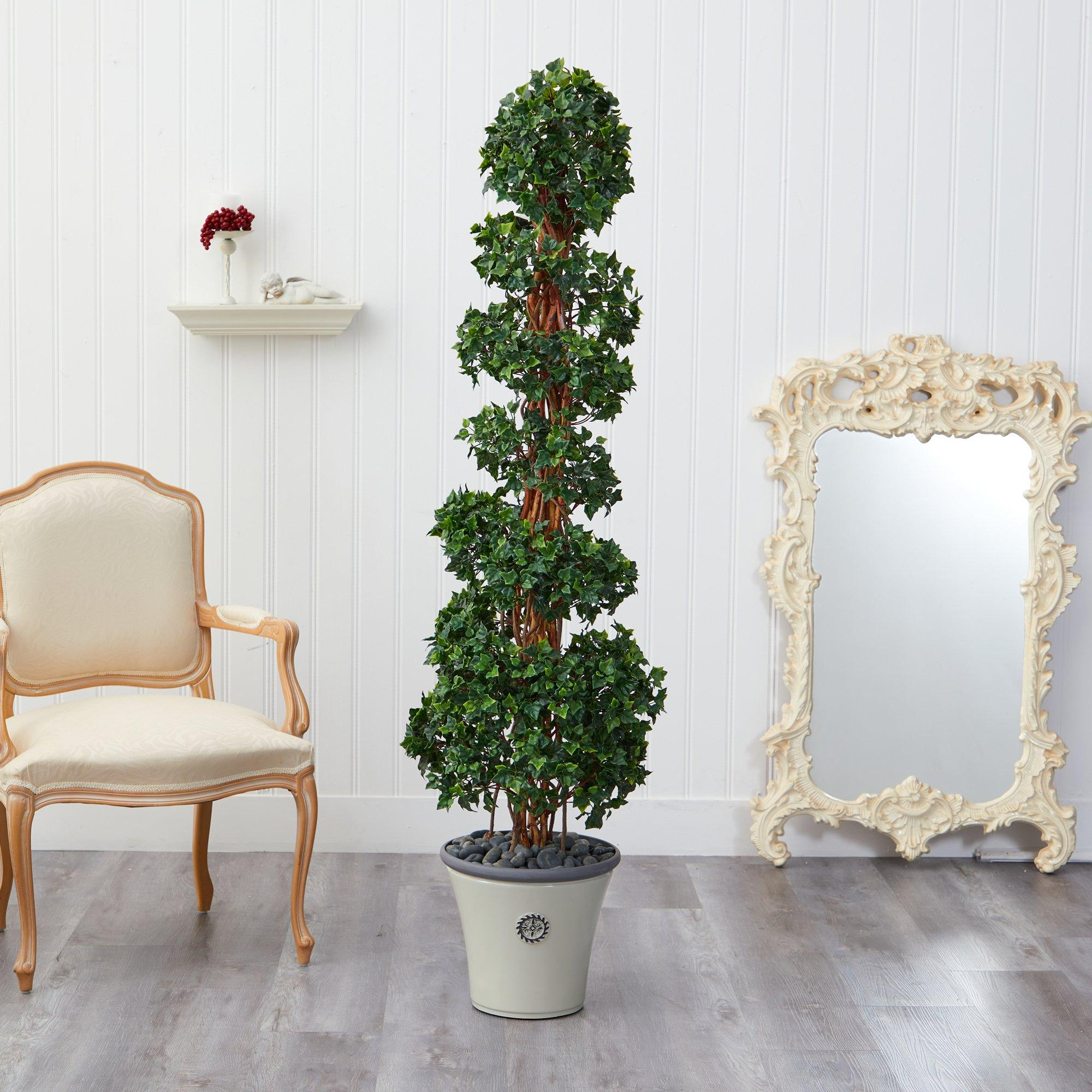 68 English Ivy Topiary Spiral Artificial Tree In Decorative Planter Uv Resistant Indoor Outdoor Nearly Natural