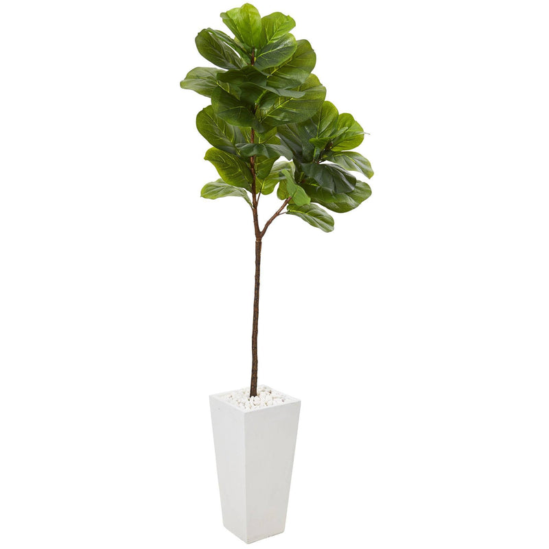 "68"" Fiddle Leaf Artificial Tree in White Planter (Real Touch)"