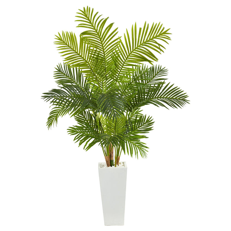 "68"" Hawaii Palm Artificial Tree in Tall White Planter"