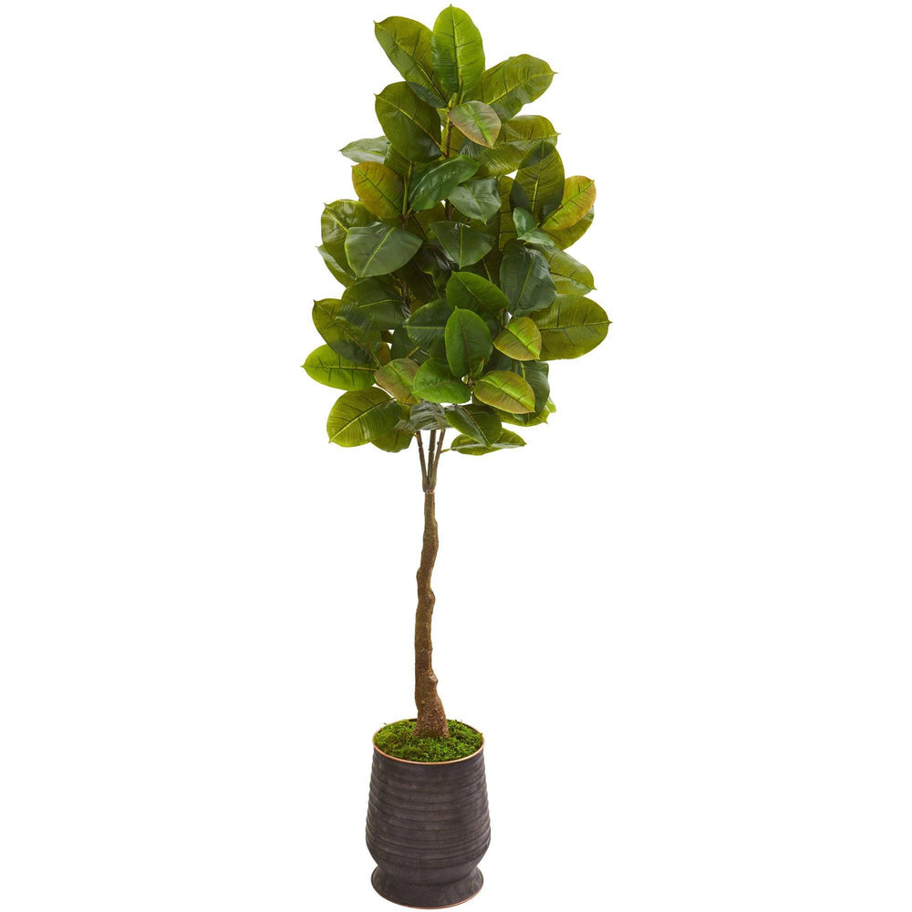 "68"" Rubber Leaf Artificial Tree in Ribbed Metal Planter (Real Touch)"