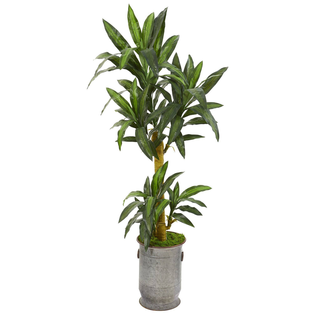 "68"" Yucca Artificial Plant in Copper Trimmed Metal Planter"