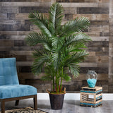 "69"" Areca Palm Artificial Tree in Decorative Metal Pail with Rope"