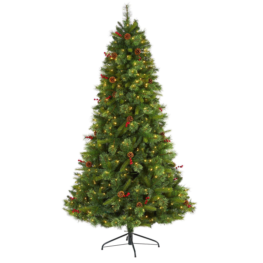 7' Aberdeen Spruce Artificial Christmas Tree with 500 Clear LED Lights, Pine Cones and Red Berries