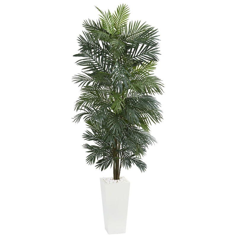 7' Areca Artificial Tree in White Tower Planter