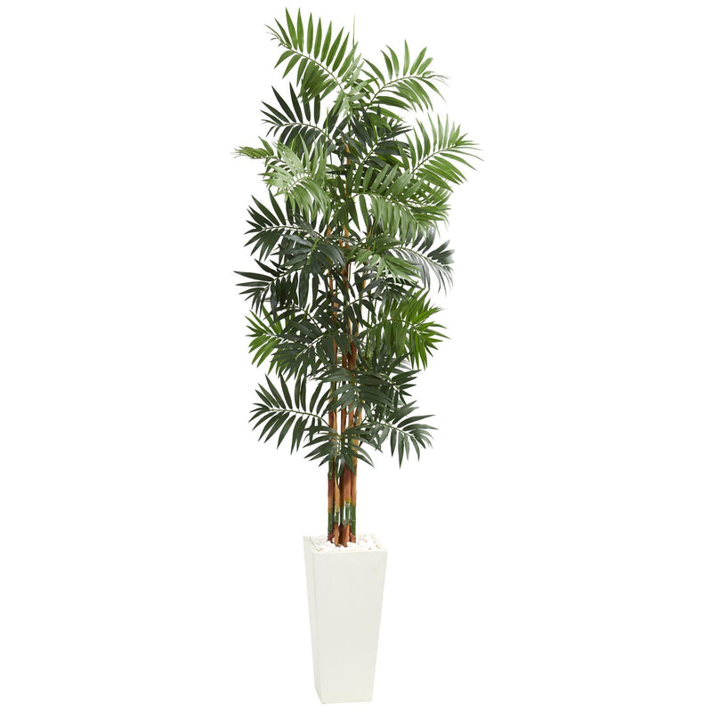 7' Bamboo Palm Artificial Tree in White Tower Planter