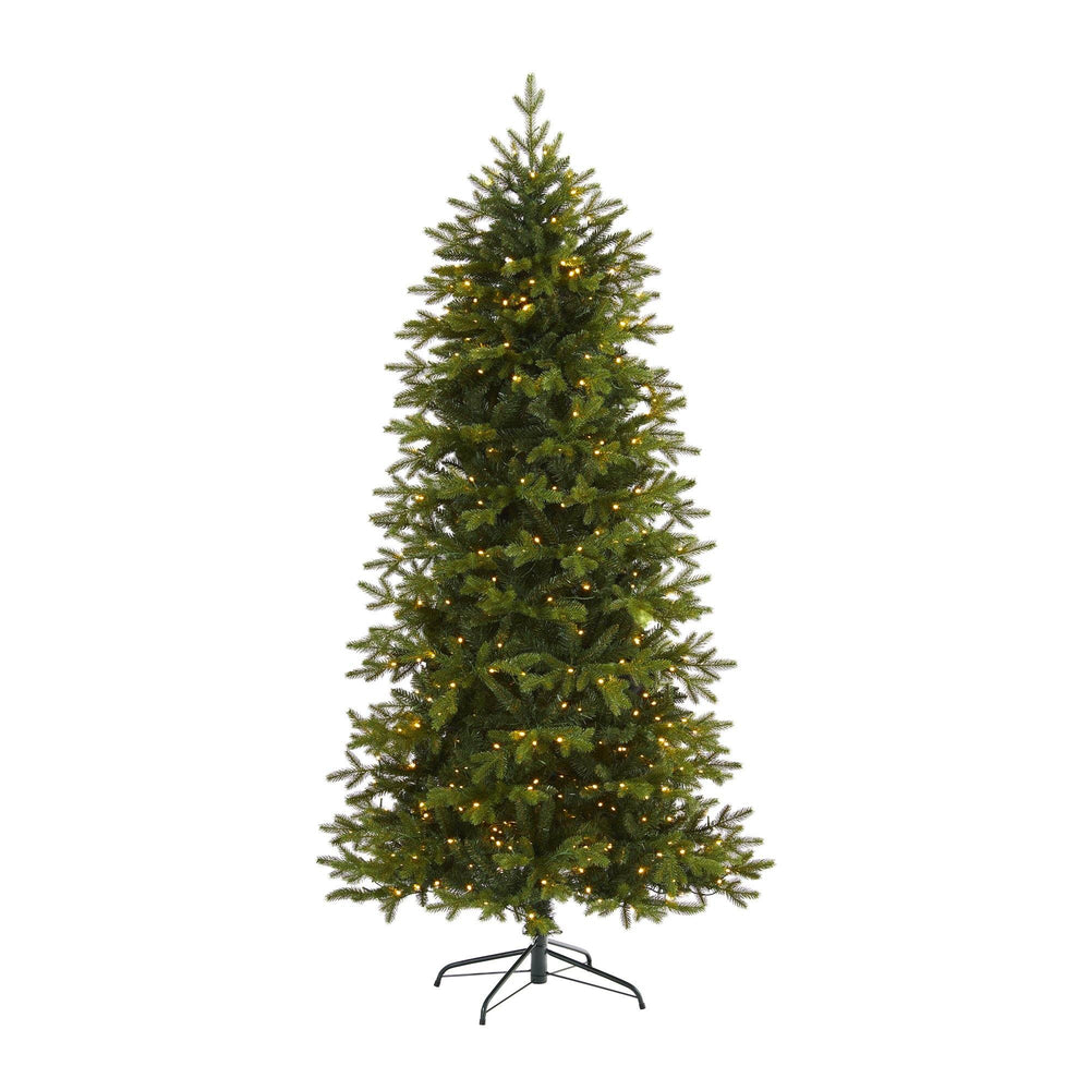 "7' Belgium Fir ""Natural Look"" Artificial Christmas Tree with 500 Clear LED Lights from Nearly Natural."