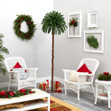 7' Christmas Palm Artificial Tree with 300 White Warm LED Lights