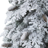 7' Flocked Montana Down Swept Spruce Artificial Christmas Tree with Pinecones and 400 LED Lights