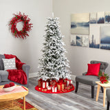 7' Flocked North Carolina Fir Artificial Christmas Tree with 550 Warm White Lights and 2090 Bendable Branches