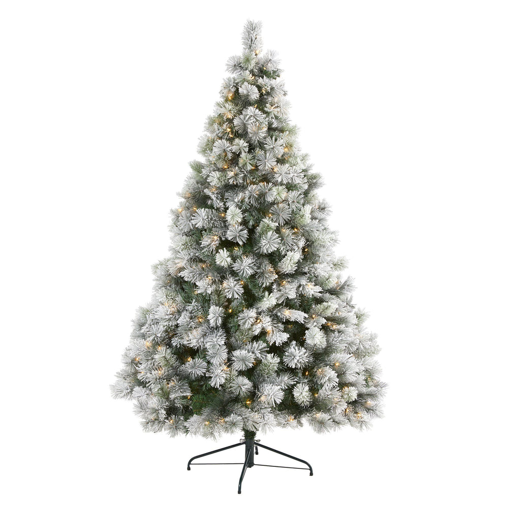 7' Flocked Oregon Pine Artificial Christmas Tree with 400 Clear Lights and 834 Bendable Branches