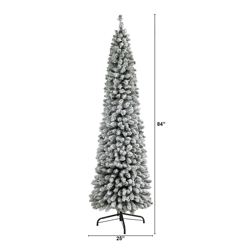7' Flocked Pencil Artificial Christmas Tree with 574 Bendable Branches