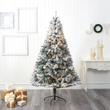 7' Flocked Rock Springs Spruce Artificial Christmas Tree with 350 Clear LED Lights and 800 Bendable Branches