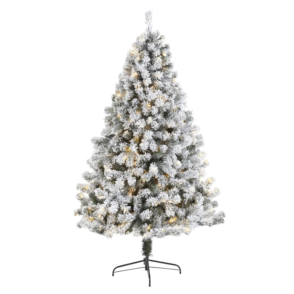 7' Flocked West Virginia Fir Artificial Christmas Tree with 350 Clear LED Lights