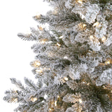 7' Flocked West Virginia Spruce Artificial Christmas Tree with 400 Clear Lights and 1468 Bendable Branches