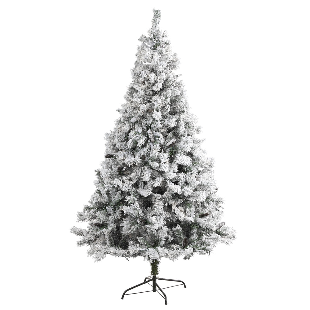 7' Flocked White River Mountain Pine Artificial Christmas Tree with Pinecones
