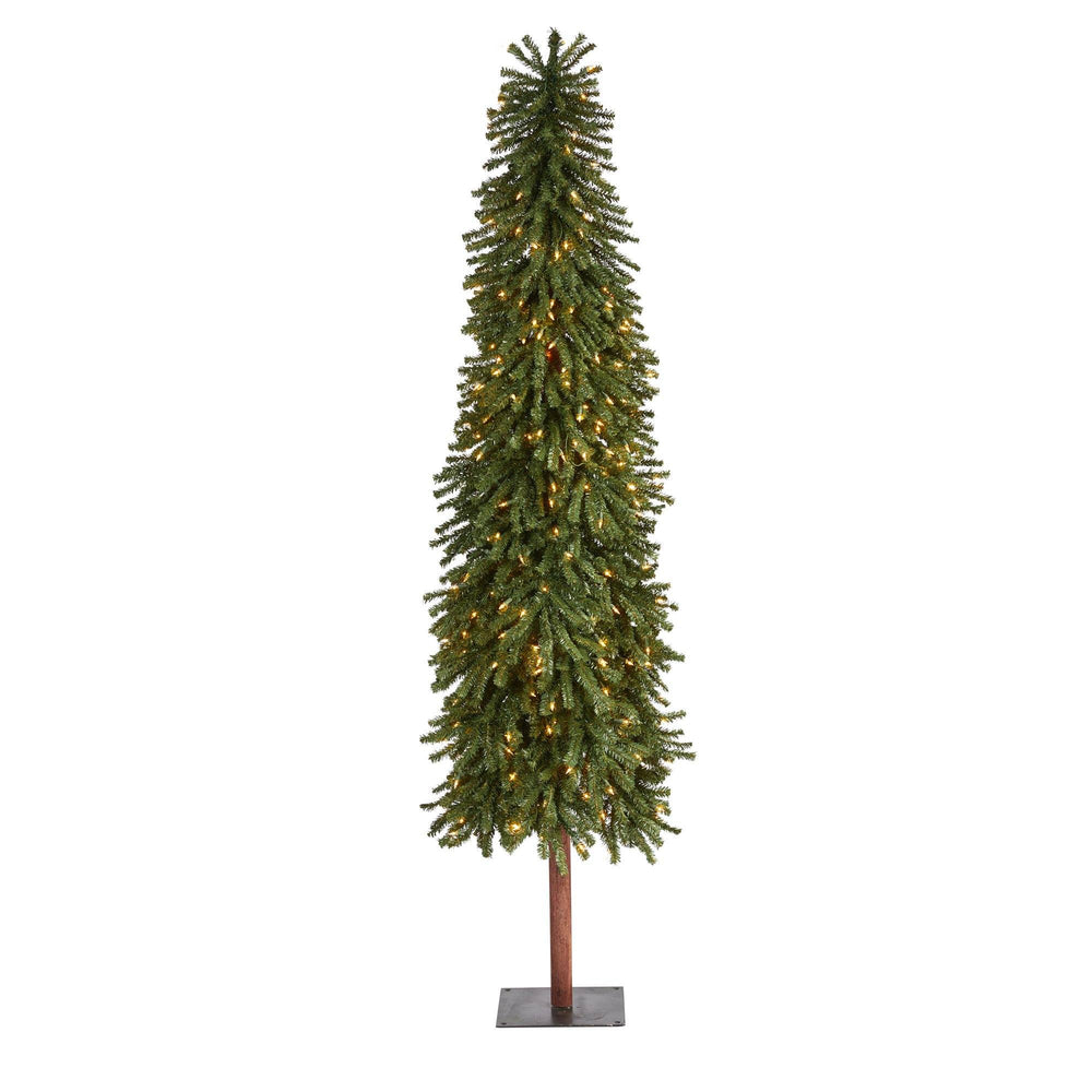 7' Grand Alpine Artificial Christmas Tree with 400 Clear Lights and 950 Bendable Branches on Natural Trunk
