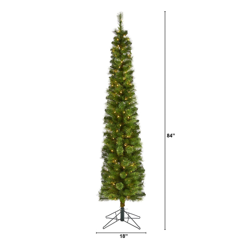 7' Green Pencil Artificial Christmas Tree with 150 Clear (Multifunction) LED Lights and 338 Bendable Branches