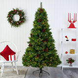 7' Montana Mixed Pine Artificial Christmas Tree with Pine Cones, Berries and 500 Clear LED Lights