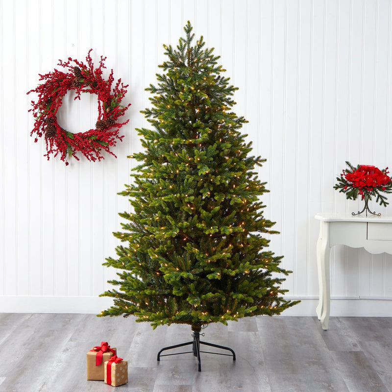 7' North Carolina Fir Artificial Christmas Tree with 550 Clear Lights and 3703 Bendable Branches