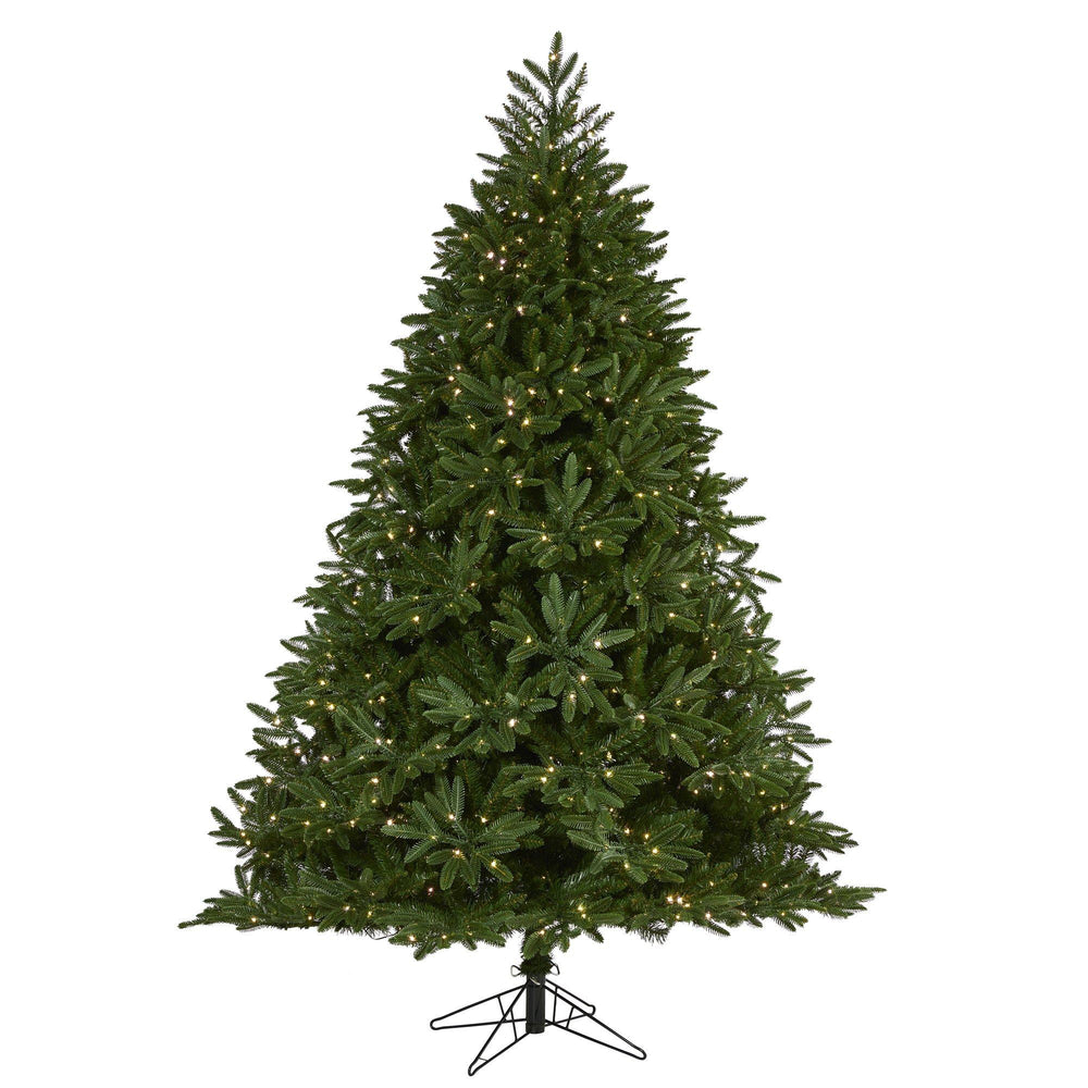 7' Oregon Spruce Artificial Christmas Tree with 850 Warm White (Multifunction) Microdot LED Lights with Instant Connect Technology and 1796 Bendable Branches